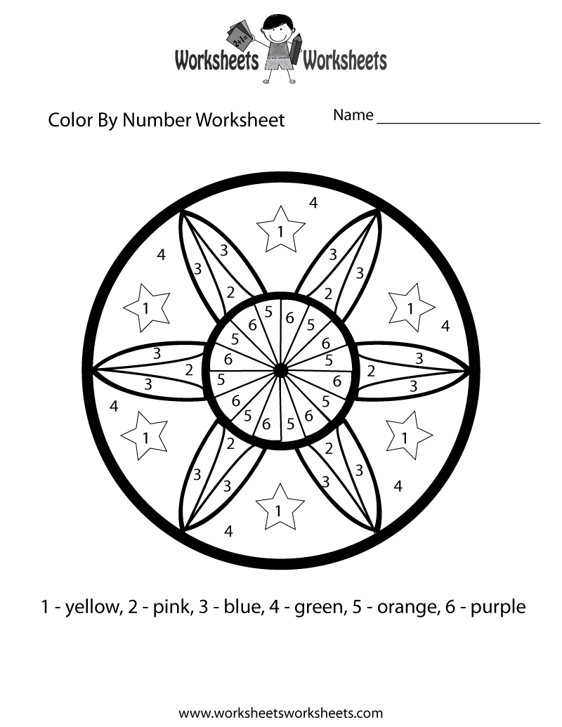 color by number math worksheet printable fun worksheets