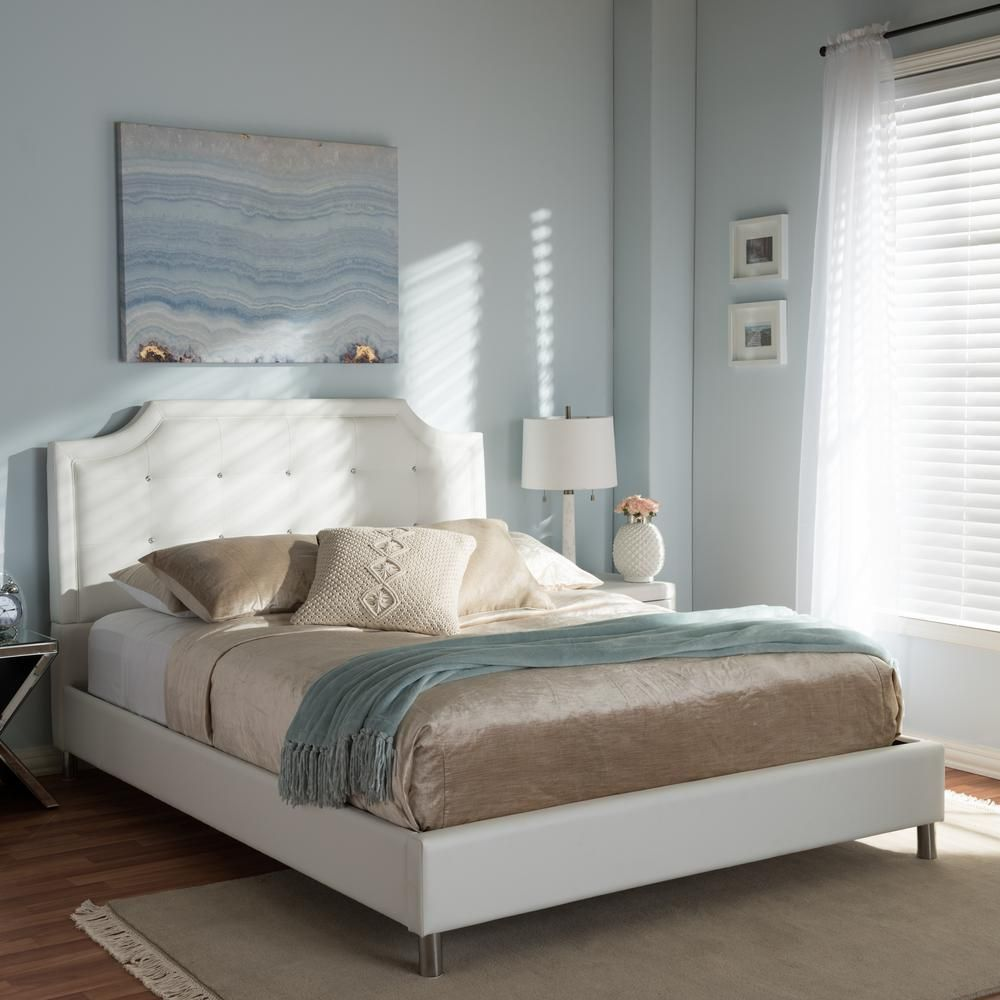 Carlotta Modern Wood Queen-Size Bed with Upholstered Headboard in White