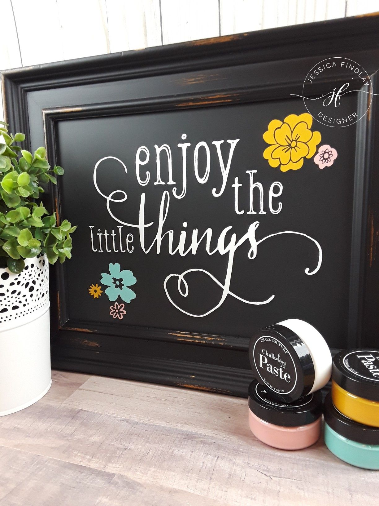 Enjoy The Little Things On Our 9x12 Black Aiden Chalkboard Chalk