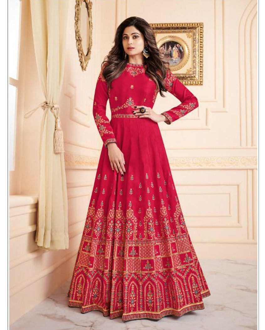 f0877249ab Beautiful mulberry silk floor length anarkali suit. This anarkali suit is  adorned with floral zari & thread embroidery work and stones highlights.