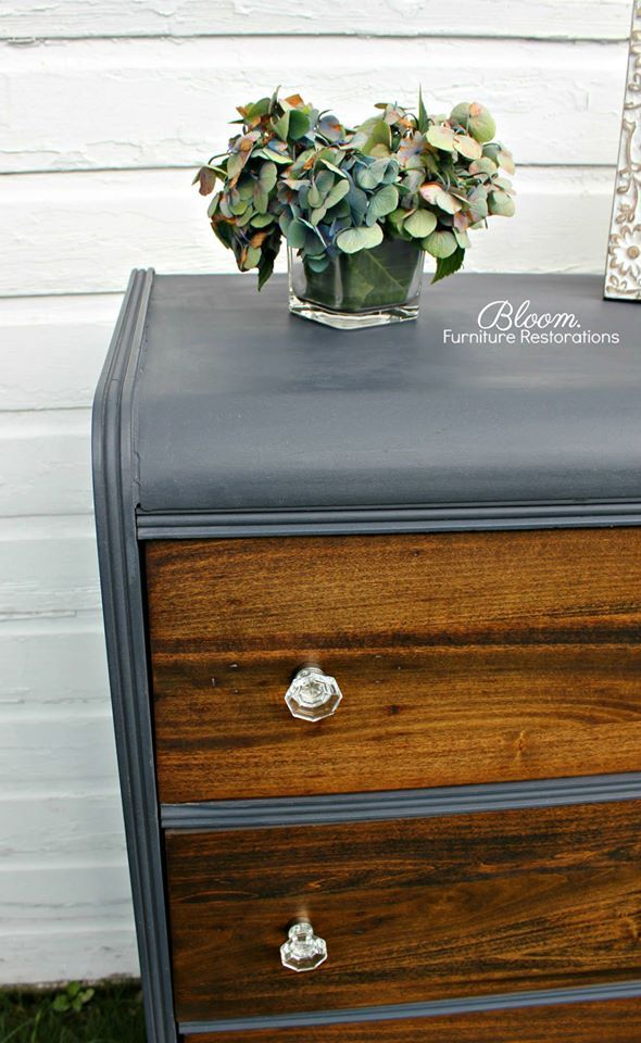 vintage waterfall dresser in custom blue jean chalk with walnut