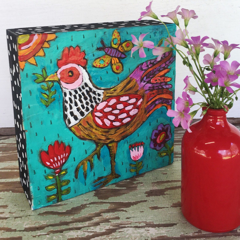 New etsy listing. Small folk art chicken on a wood cradle board ...