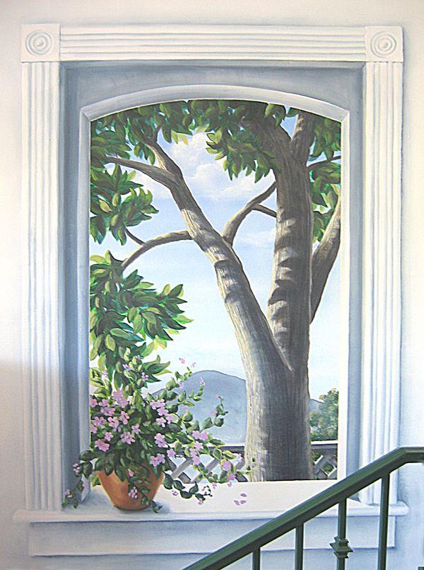 trompe l 39 oeil tree outside window tromp l 39 oeil pinterest trompe murale et peintures murales. Black Bedroom Furniture Sets. Home Design Ideas