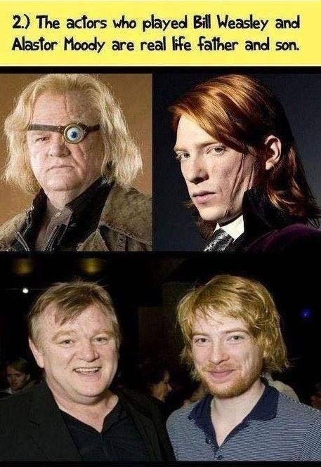 Mad-Eye Moody and Bill Weasley, real life father and son