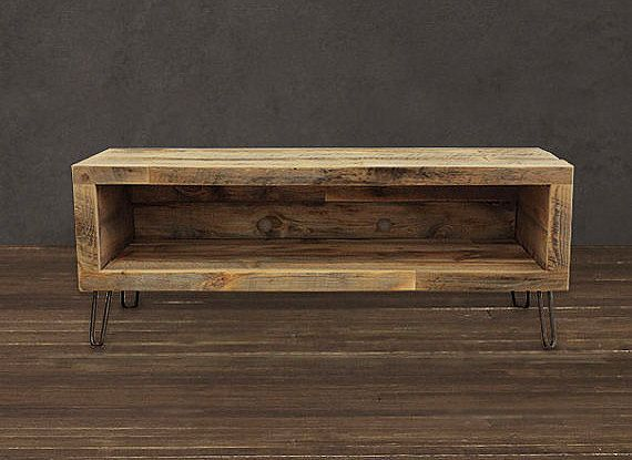 Reclaimed Wood Media Console Tv Stand 48 By Atlaswoodco On Etsy