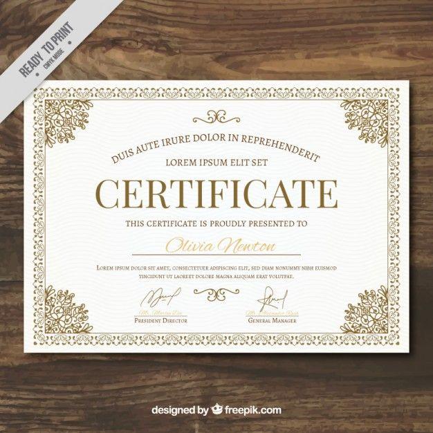 Modelo de certificado ornamental Vector Gratis | Diplomas para ...