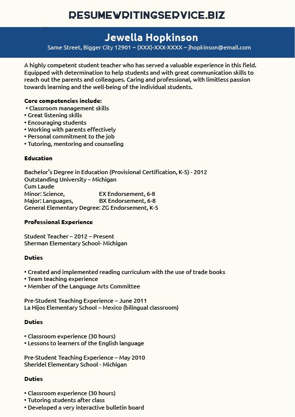 Student Teacher Resume Sample Student Stuff\/Career Pinterest - sample teaching resume