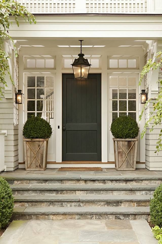 French Country Front Door Planters Boxwoods And Stone Steps House Exterior Front Porch Decorating Farmhouse Front Porches