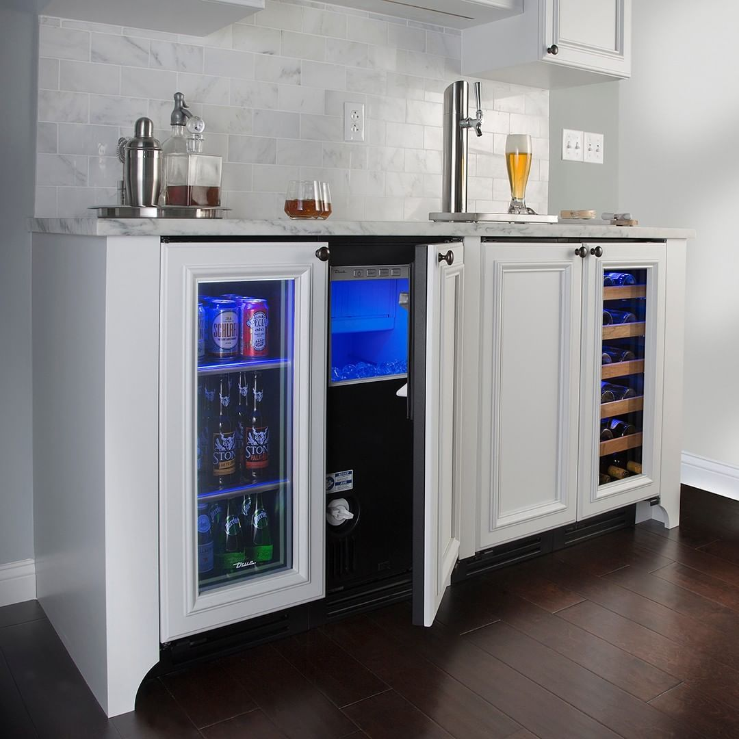 True Residential On Instagram Your Complete Bar Awaits In Just 5 Feet Of Refrigeration Space A Glass Door Glass Door Fridge Dining Room Bar Home Bar Designs