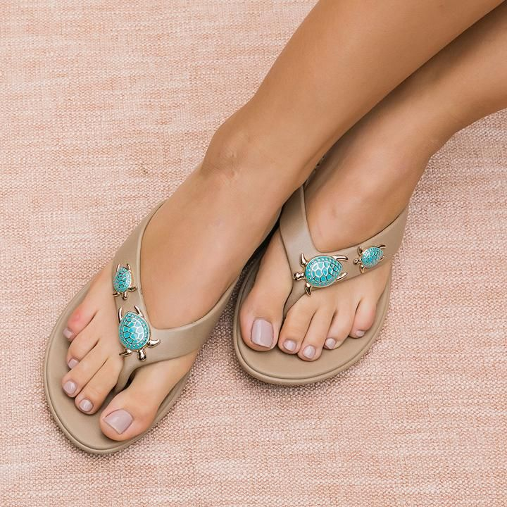 3f95a97f2e9 Add some turtle love to your toes with Theresa s beautiful sea turtle  charms. Easy to clean and comfortable. Comfortable flip flops for women in  white