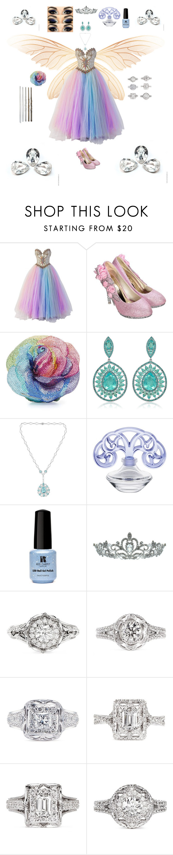 """Gem Fae"" by karlielove2party ❤ liked on Polyvore featuring Bob Mackie, Judith Leiber, Sutra, Lalique, Red Carpet Manicure, Kate Marie and Vera Wang"