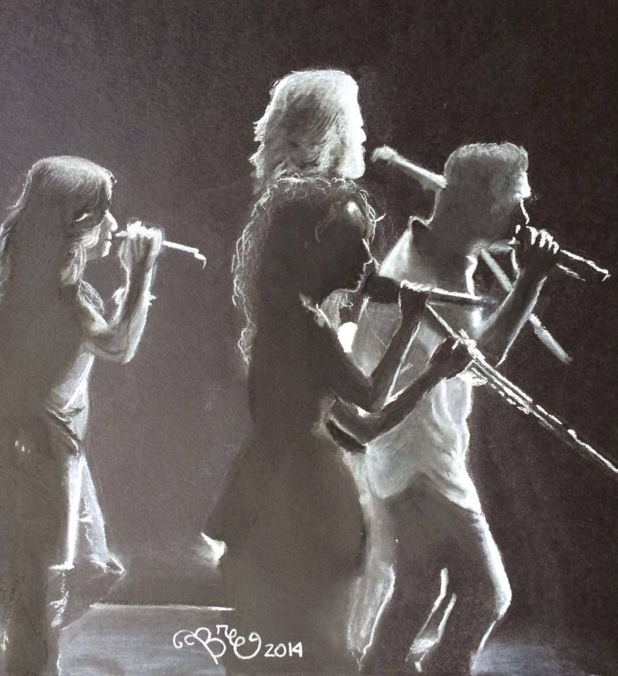 my drawing of Little Big Town with white charcoal on black paper