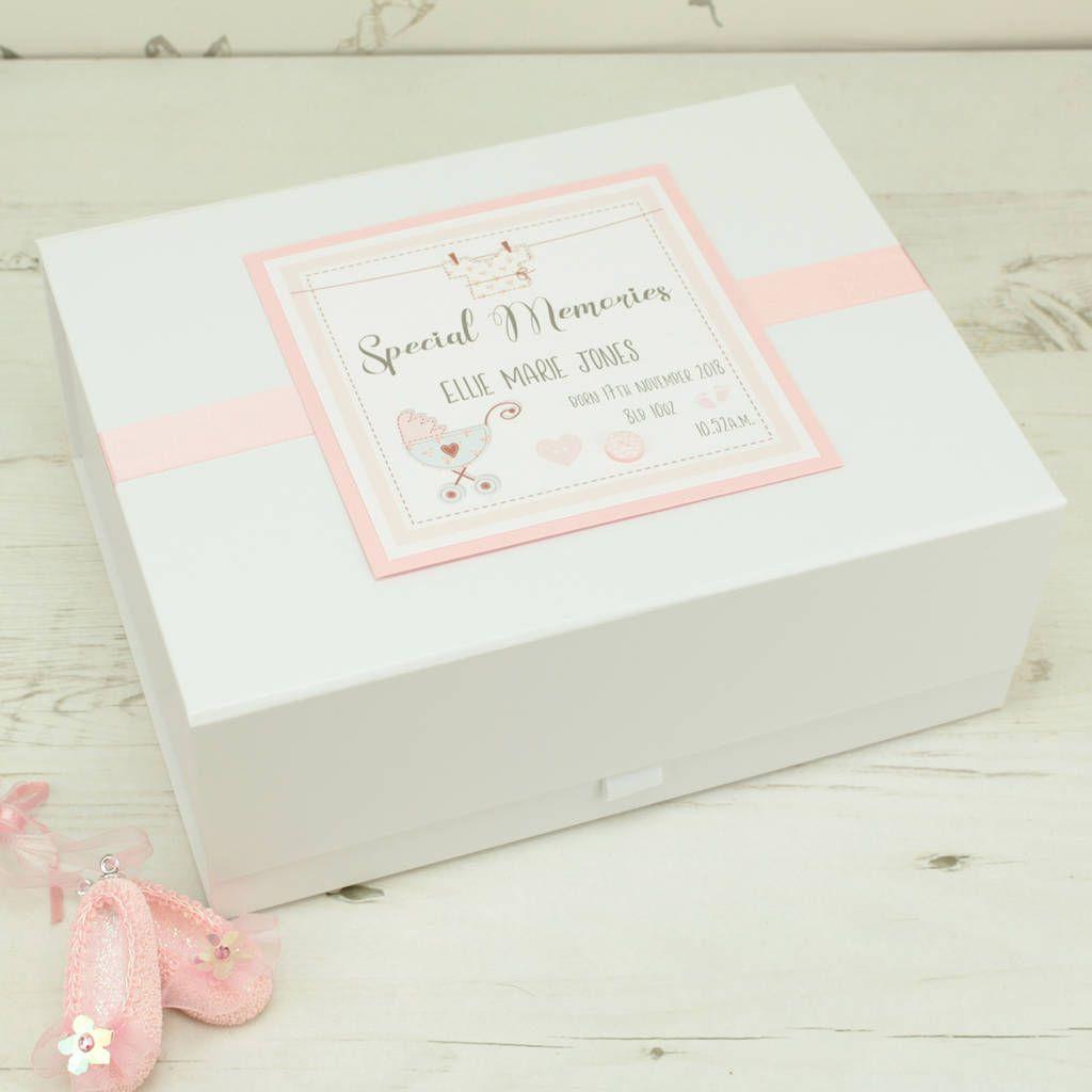 Large Personnalisé Baby Girl//Boy Keepsake Box