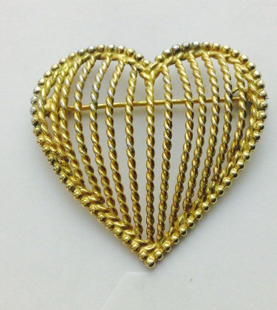 20% OFF Everything Sterling Napier Pin, 925 Gold Heart, Sterling Gold Brooch, Napier Gold Heart, Gold Napier Pin, Sterling Silver ,Heart Bro