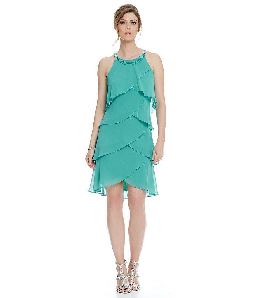 Sl sl fashion dresses - Fresh Mint S L Fashions Chiffon Tulip Tier Sheath Dress