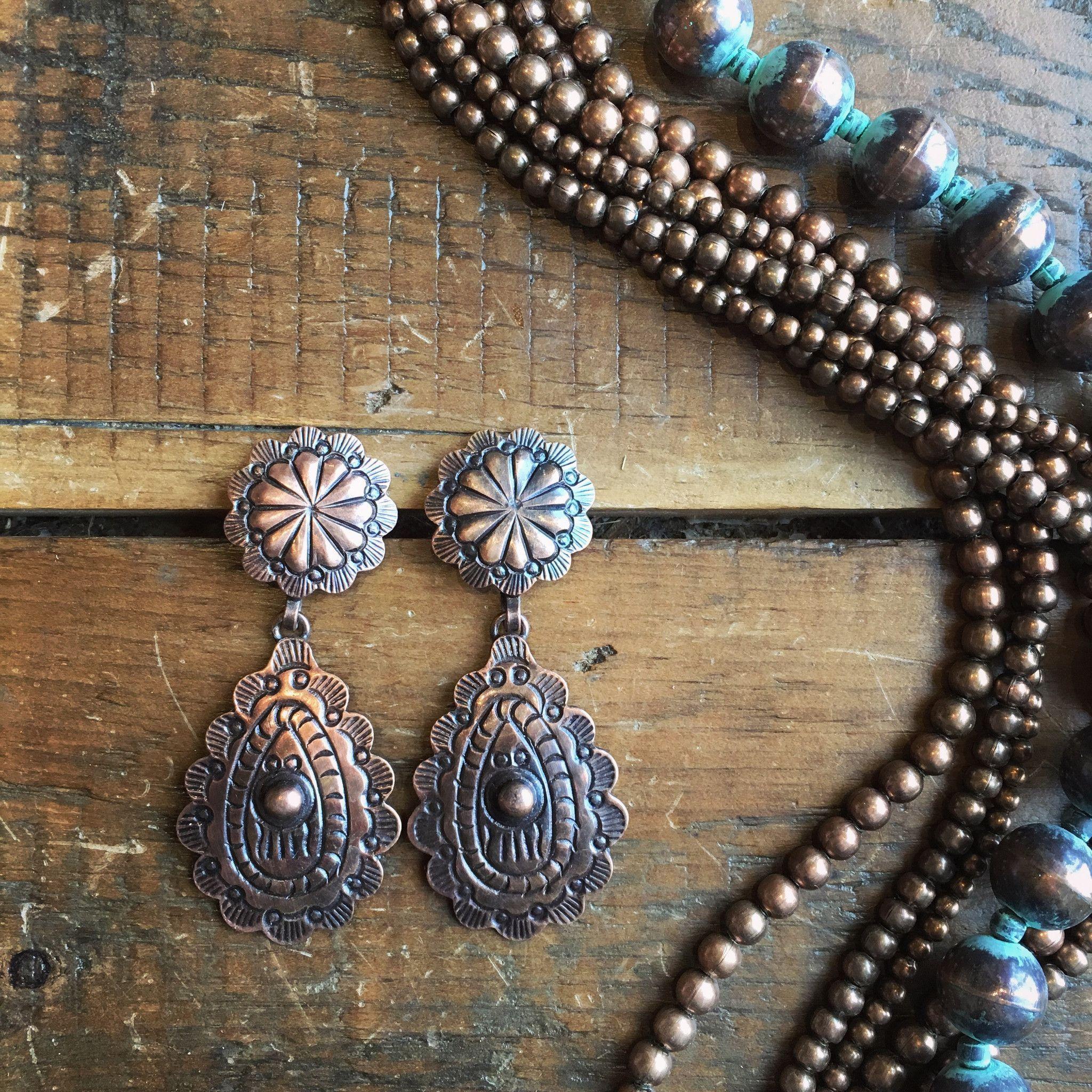 Peyette Earrings - copper concho earrings from Savannah ...