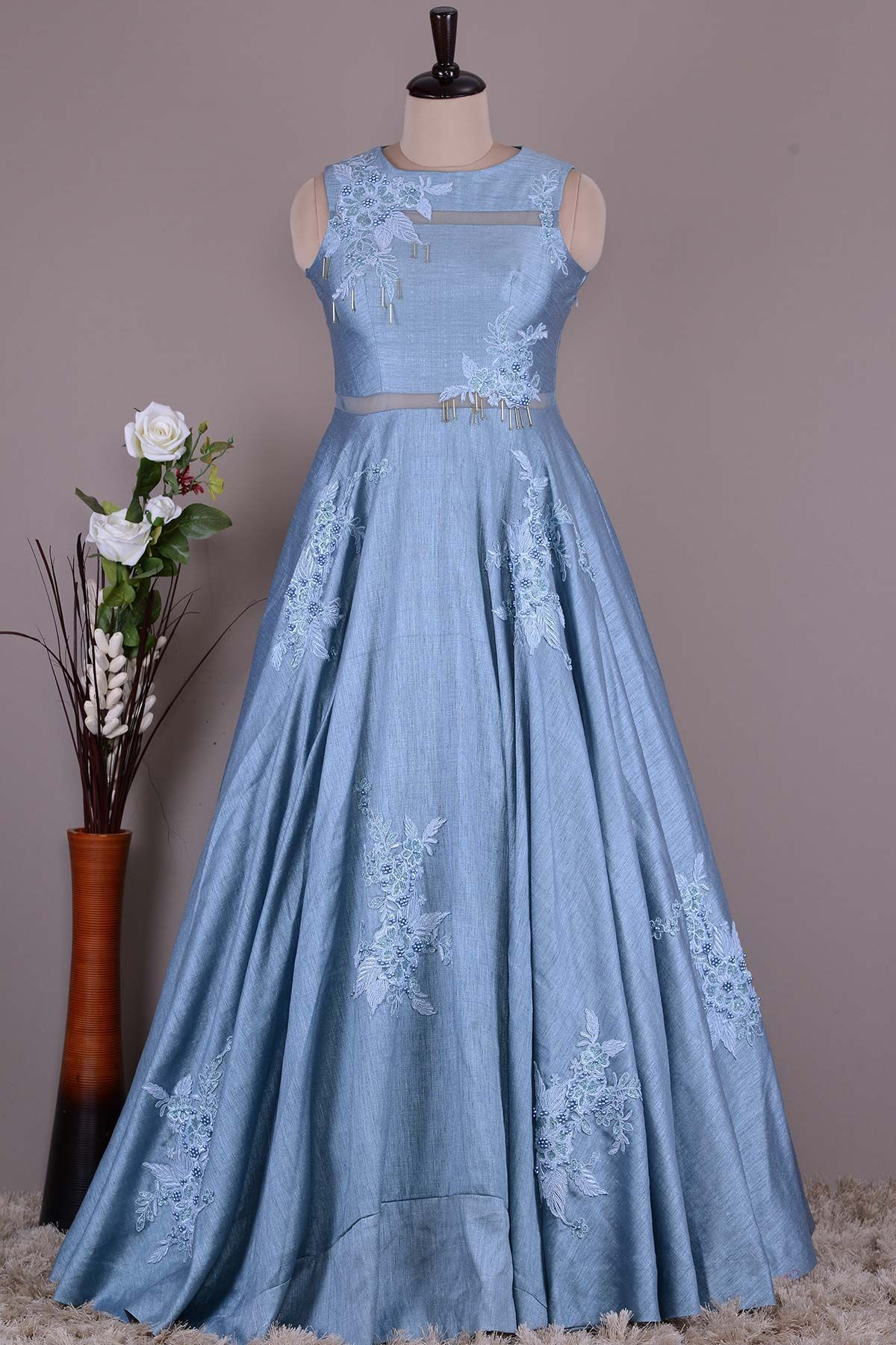 Buy Periwinkle Blue Dori Embroidered Raw Silk Evening Gown Online ...