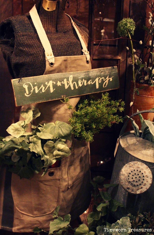 Dirt therapy garden vignette @ our shop Timeworn Treasures ...