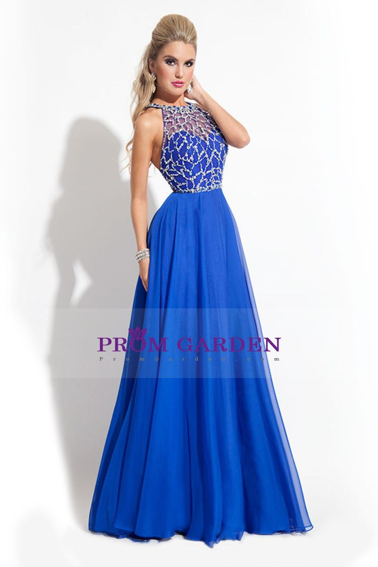 2015 Charming Prom Dresses Scoop Beaded tulle Bodice with chiffon skirt
