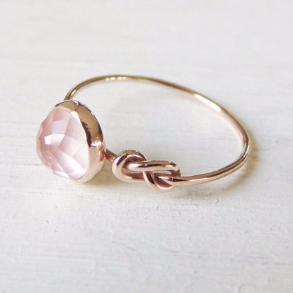 14k Rose Quartz Ring - Infinity Knot Ring