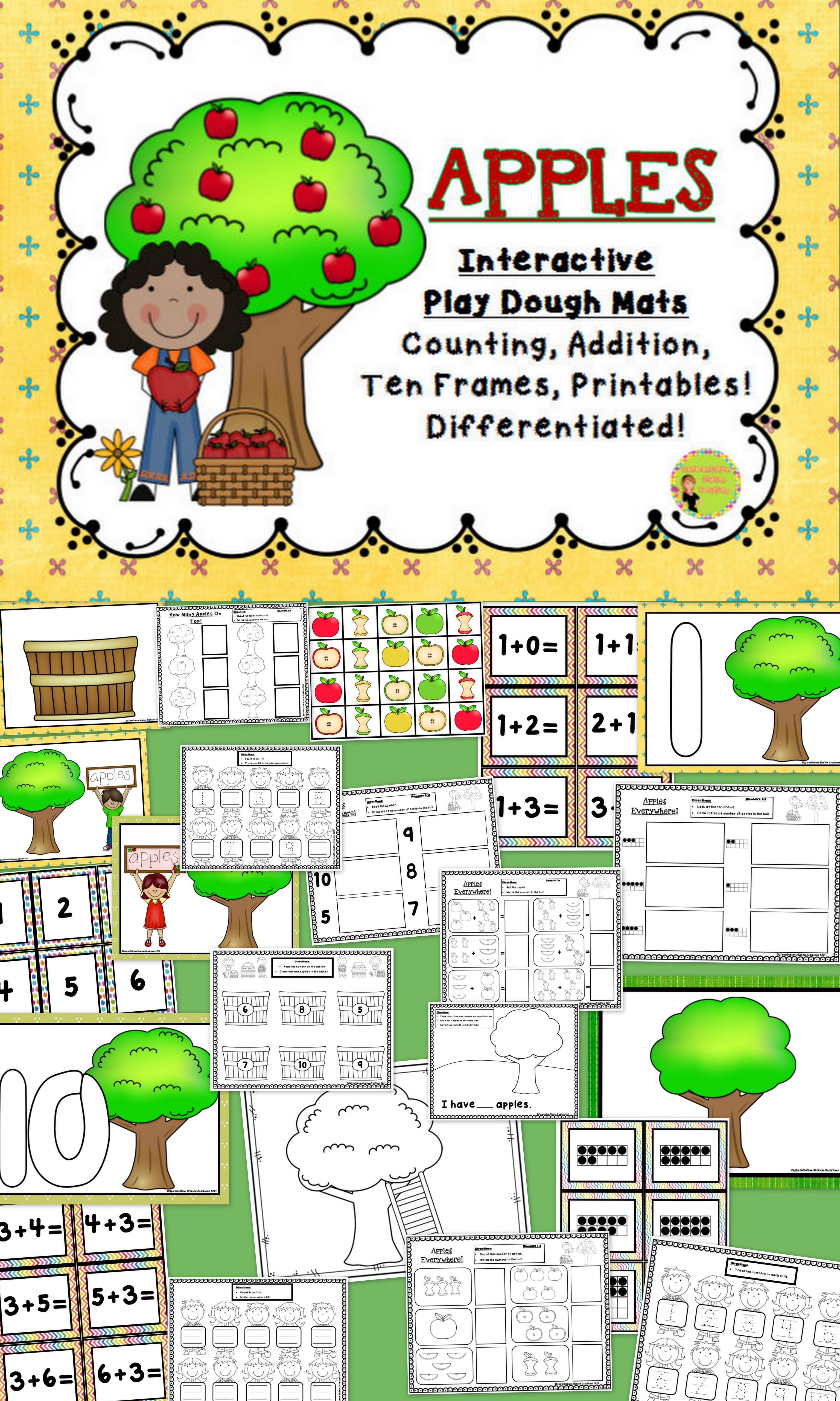 Apples Interactive Play Dough Mats Counting Centers Printables