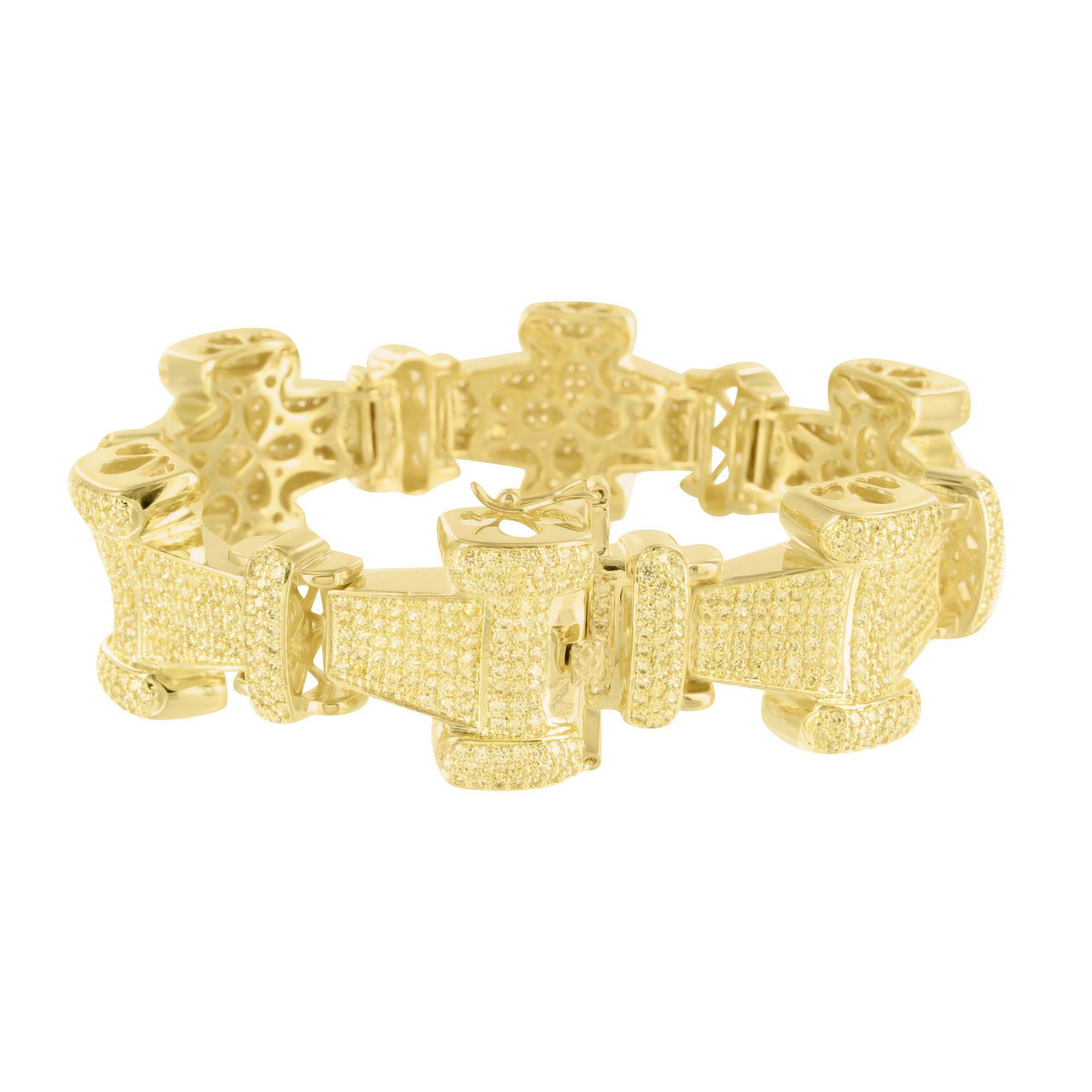 Canary lab diamond iced out metal i link bracelet diamond ice