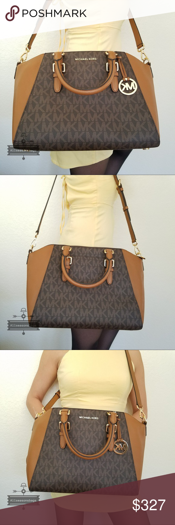 daf534ac2eff NWT Michael Kors Large Ciara satchel brown bag Michael Kors Large Ciara  Saffiano Leather Satchel Cross