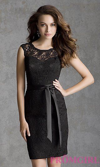 Short Cap Sleeve Lace Dress by Mori Lee at PromGirl.com