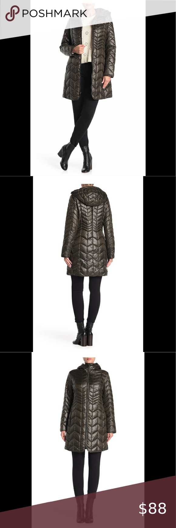 Kenneth Cole New York Quilted Hooded Puffer Coat Puffer Coat Kenneth Cole New York Jackets For Women [ 1740 x 580 Pixel ]