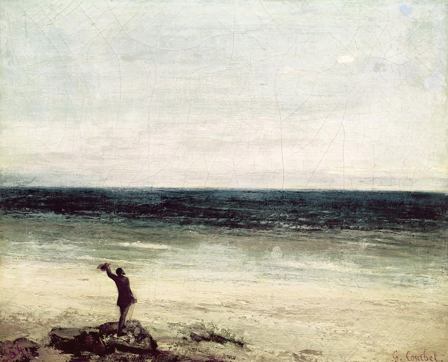 Gustave Courbet - The Artist on the seashore at Palavas (1854)