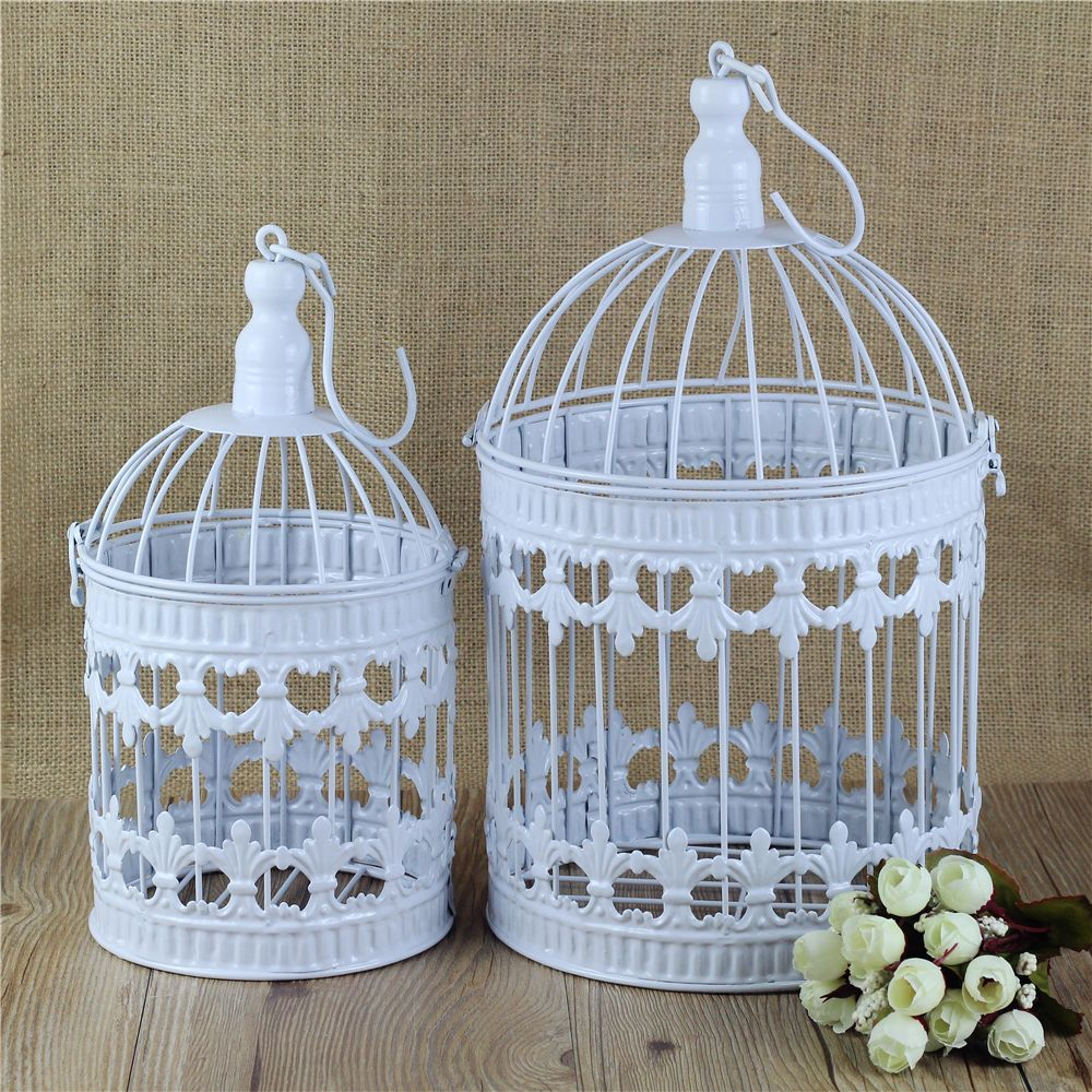 Cage Home Decor Bird Hand Made Antique White Set Decorative Birdcage Metal Decoration