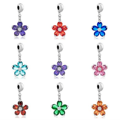 Pugster Popular Silver Multi-color Crystal Flower Stopper Bead Charm Bracelet #Pugster #European