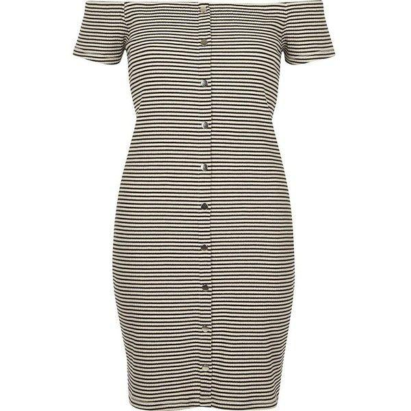 River Island White And Black Stripe Bardot Bodycon Dress 52