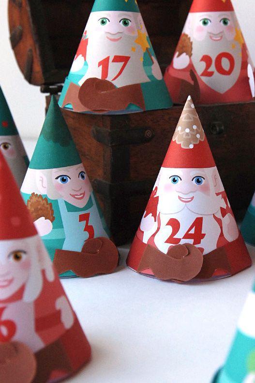 DIY Advent calendar printable, 24 cute Gnomes Advent boxes for