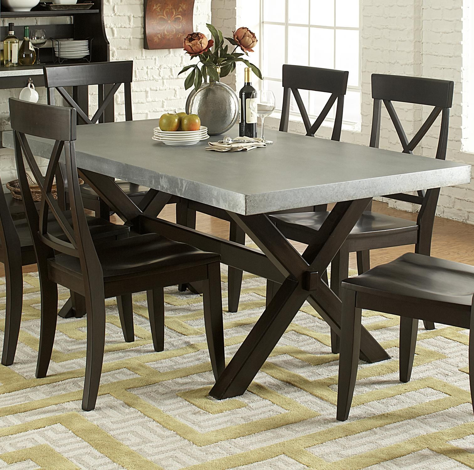 Keaton Ii Rectangle Trestle Dining Table With Metal Top By