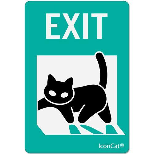 Cat stickers, Black Cat Sticker and IconCat (R) EXIT
