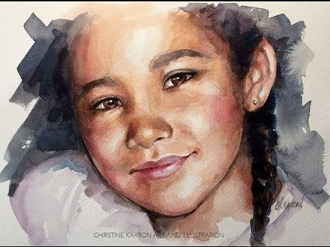 Watercolor Painting Portrait Sketch Demo By Ch Karron Youtube