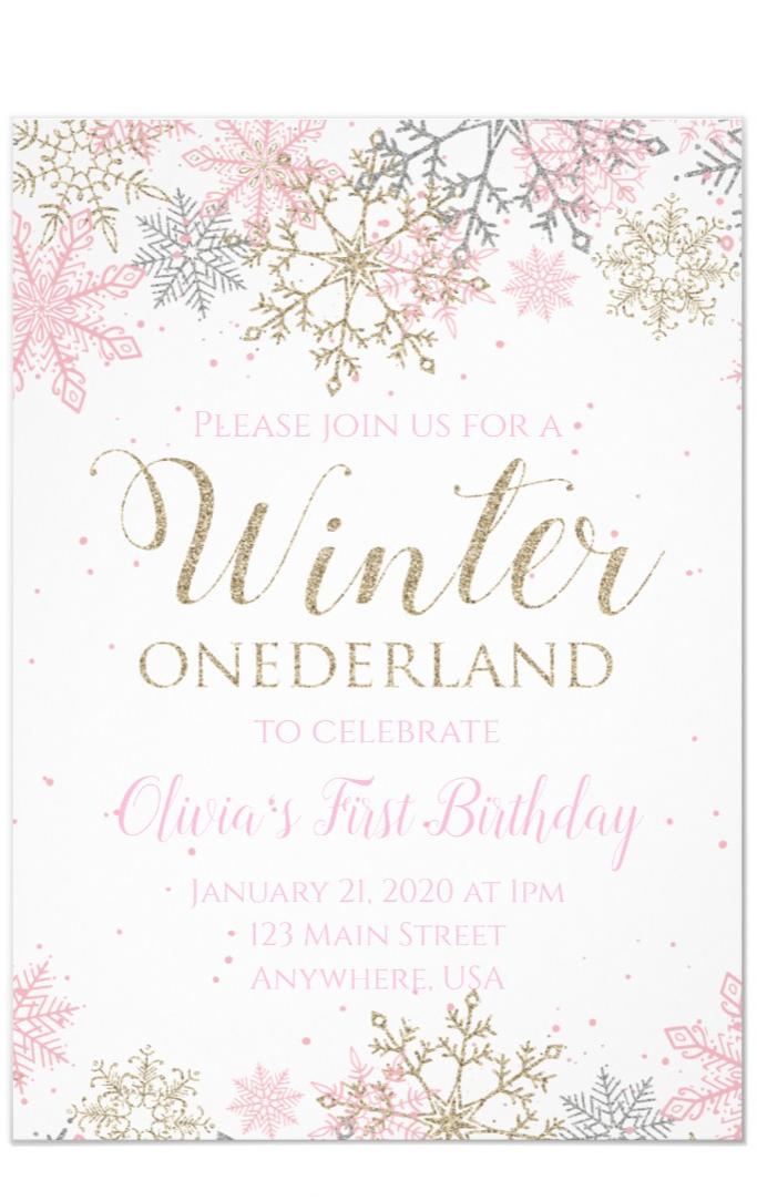 Winter Onederland First Birthday Invitation Zazzle Com In 2020 Onederland Birthday Party Winter Onederland Party Girl 1st Birthdays First Birthday Winter