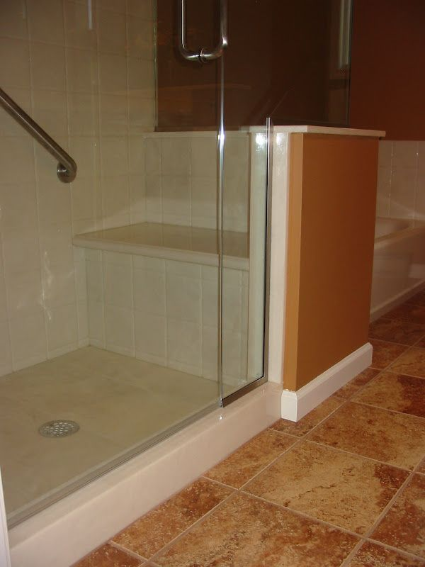 Cultured marble shower, frame-less enclosure | Bathrooms | Pinterest ...