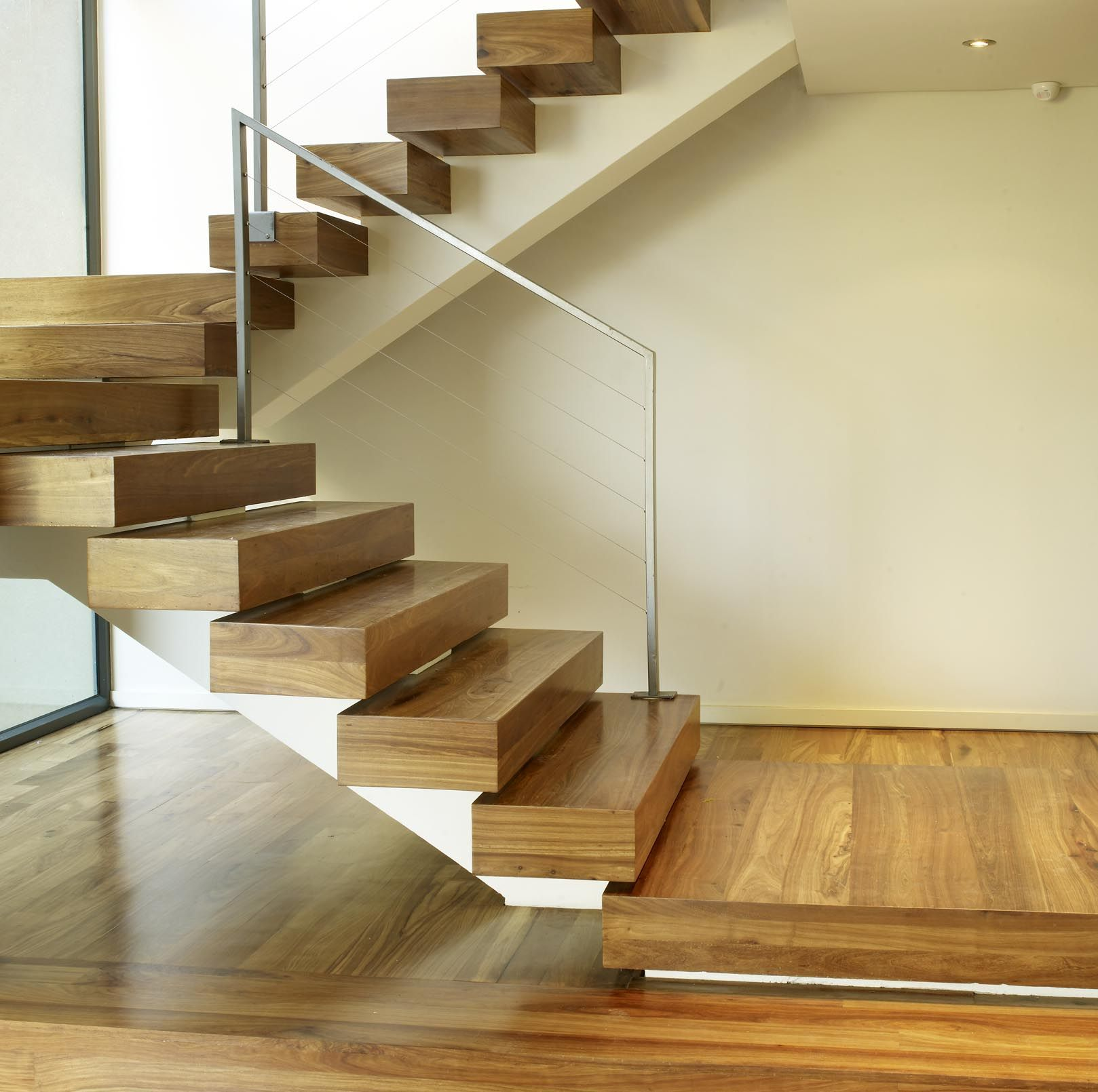 Short Stairs Ideas: Trendy Oak Wooden Step Foot Ladder With Iron Handrail As