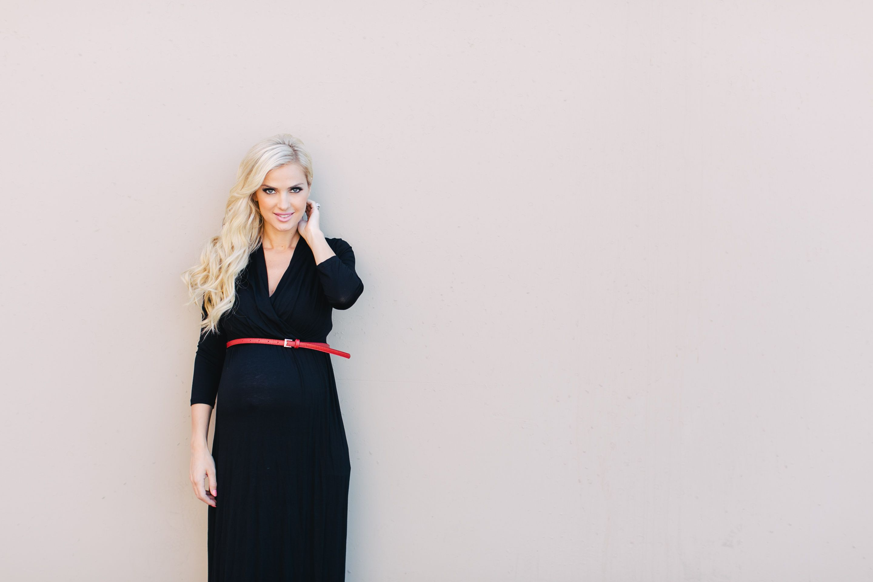 High waisted maternity dress with a red belt maternity mommy