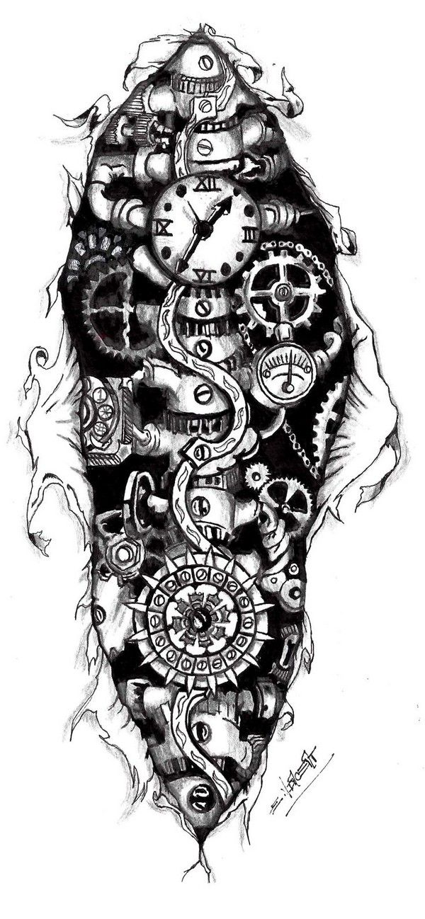 79 Extremely Creative Tattoo Drawings To Try At Home Steampunk Tattoo Steampunk Tattoo Design Gear Tattoo