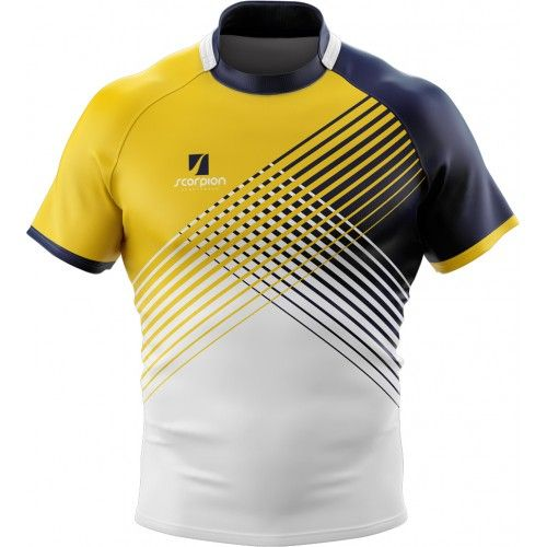 Scorpion Sports Rugby Shirts are suitable for rugby teams, schools and colleges. Manufactured in the UK in 2 wee…   Sports jersey design, Sports shirts, Rugby shirt
