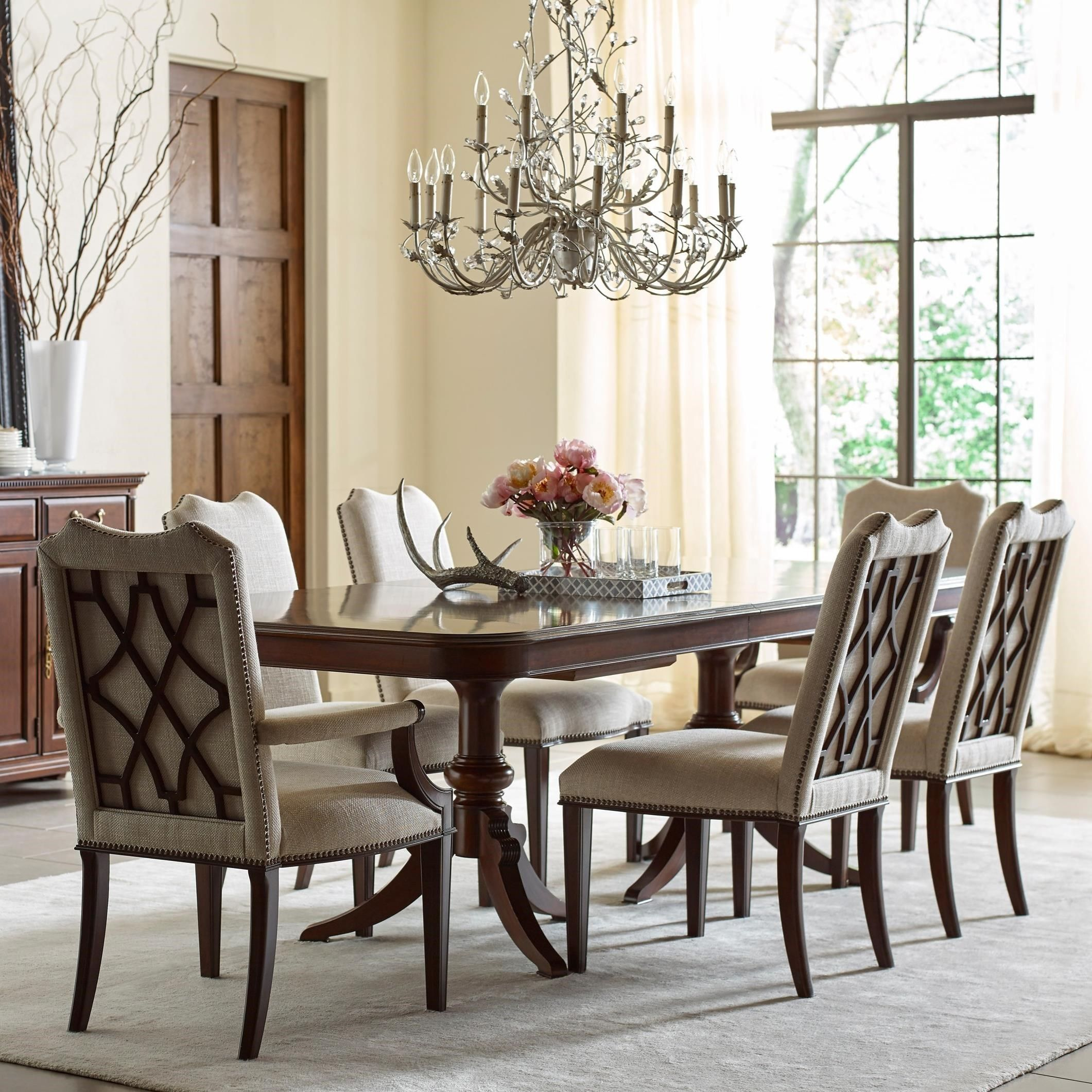 Hadleigh Seven Piece Formal Dining Set With Upholstered Chairs By Kincaid Furniture At Wayside Furniture In 2021 Pedestal Dining Table Dining Room Furniture Furniture