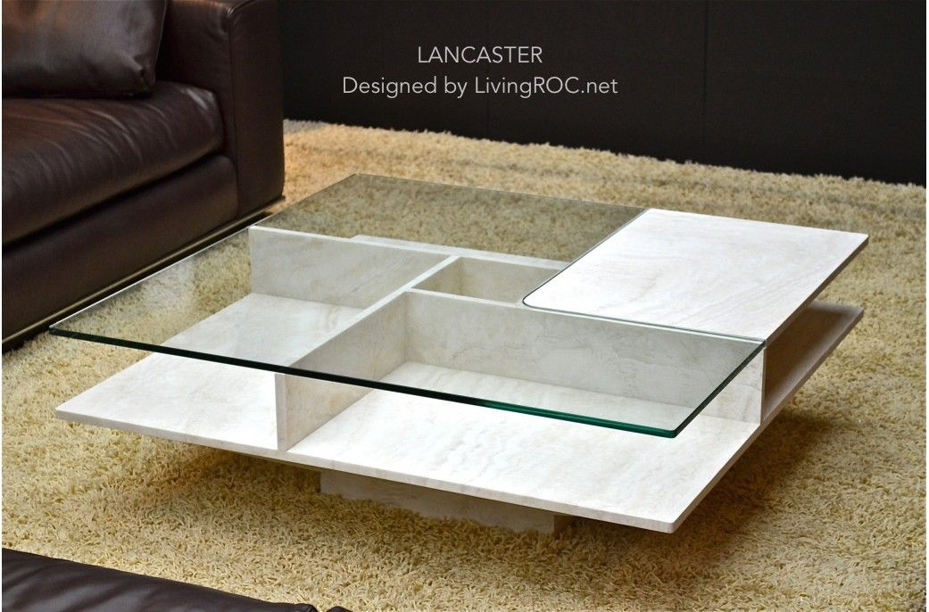 Marble Coffee Table 39 X 39 X 14 Travertine   LANCASTER