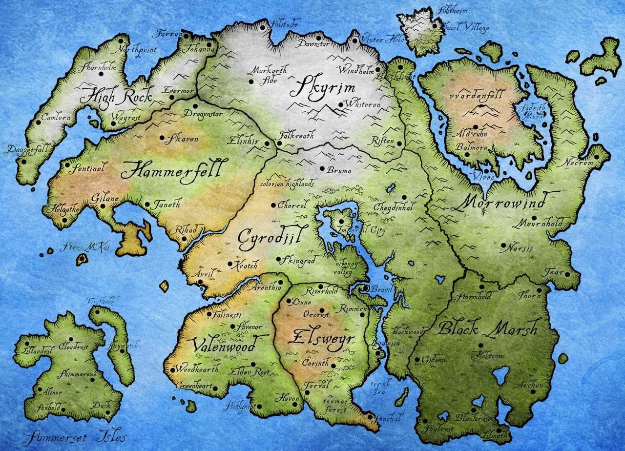 Tamriel - Map in 2019   Elder scrolls map, Skyrim map ...