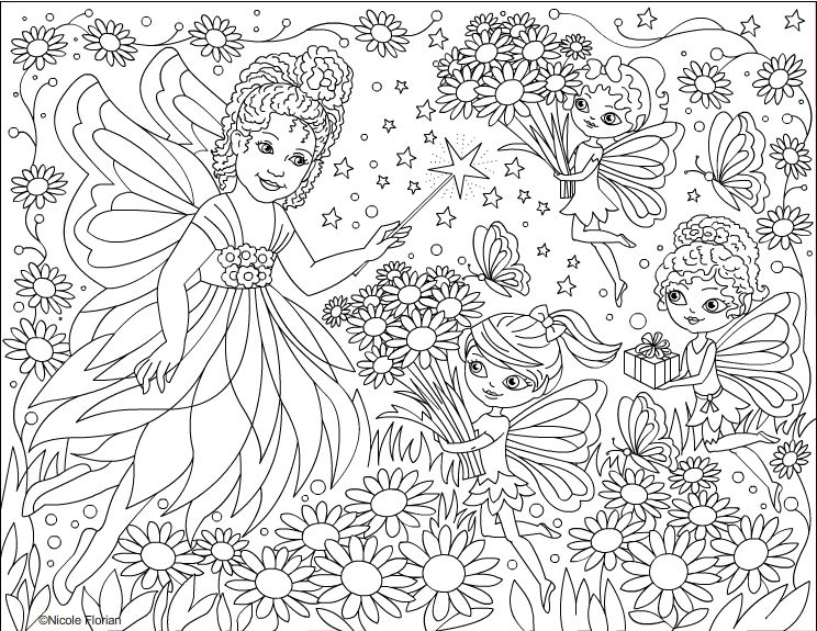 Fairy Flowers - coloring page | Diy | Pinterest | Nicole s, Fairy ...