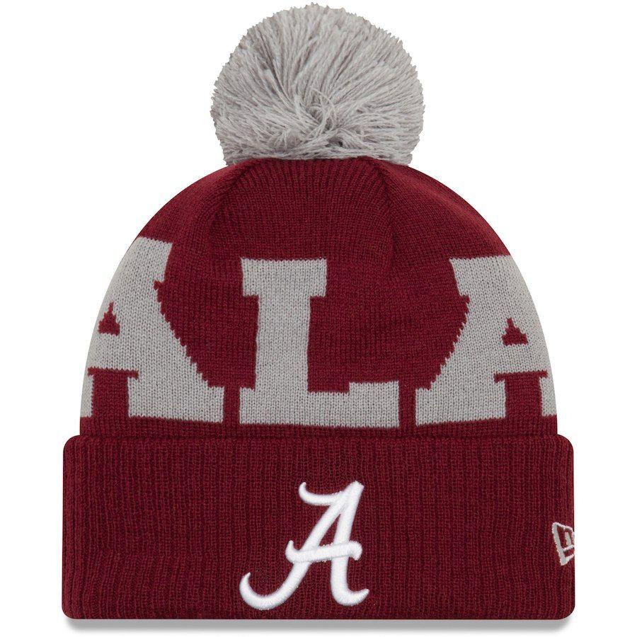 592cc46fb2b Alabama Crimson Tide New Era Scoreboard Cuffed Knit Hat with Pom - Crimson