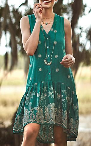 f64681d64c8 boho chic green dress Robe Vert Émeraude
