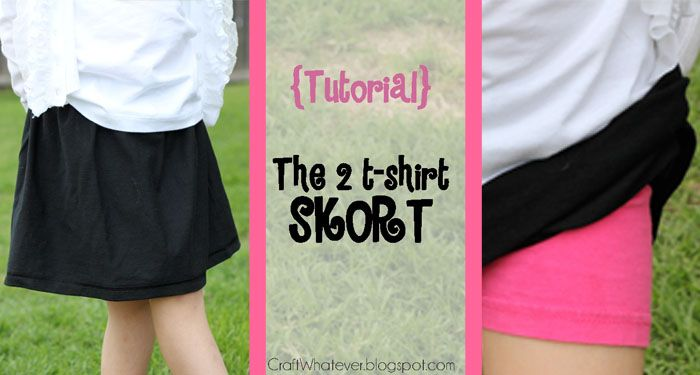 craft whatever: {Tutorial} Sew a Skort from 2 Tshirts ...